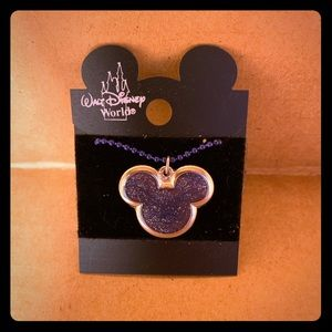 Vintage Purple Glitter Mickey Mouse Necklace